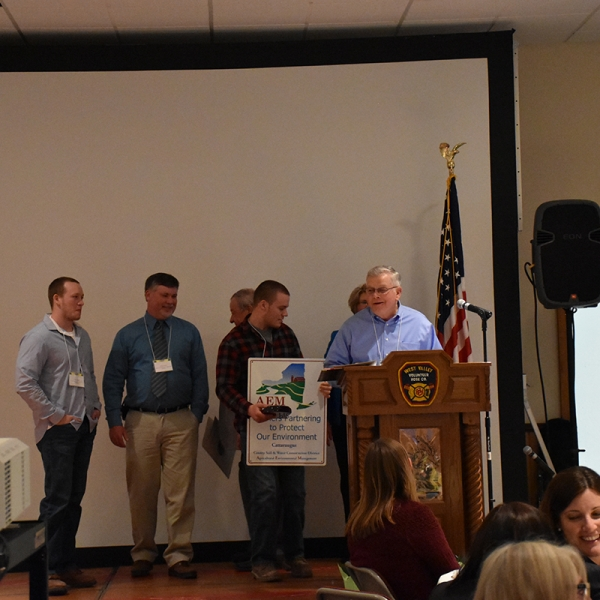 Conservation Farm of the Year recipent R&D Adams with Brian Davis, F/N Dinner
