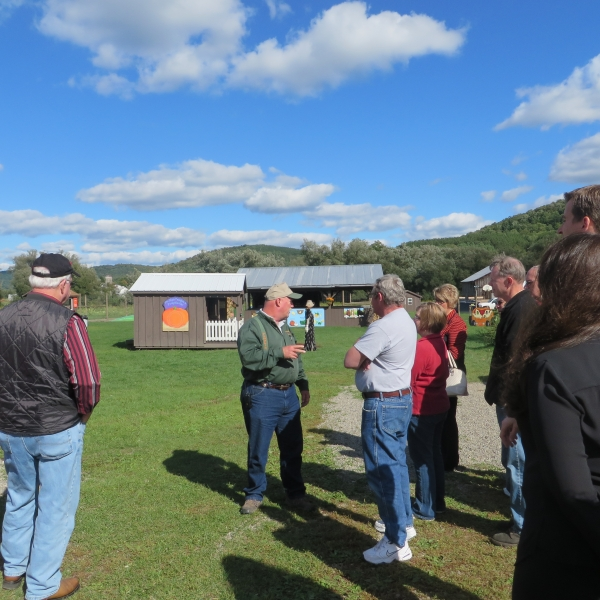 Dan P. talking to Ag tour group about Pumpkinville